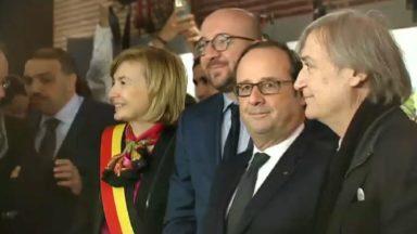 François Hollande inaugure l'exposition sur les dessins de presse à Molenbeek