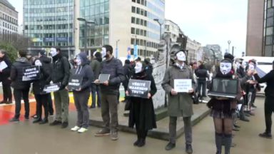 "Masqués, les militants de ""The Voiceless Brussels"" protestent contre le transport des animaux en Europe"