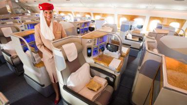 Un Airbus A380 d'Emirates le 19 avril à Brussels Airport