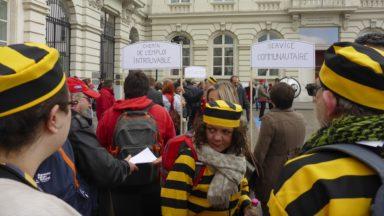 Une centaine de personnes manifestent devant la Cour constitutionnelle contre le service communautaire