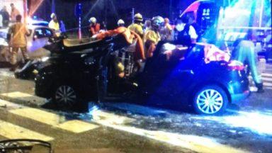 Un impressionnant accident entre deux voitures à Schaerbeek fait deux blessés