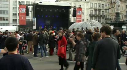 La place Rouppe en fête pour le 1er mai des organisations syndicales - BX1