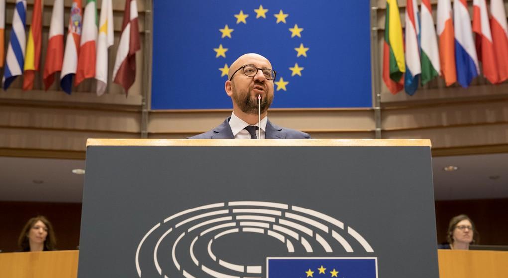 Le premier ministre belge Charles Michel délivre un speech concernant le future de l'Union Européenne