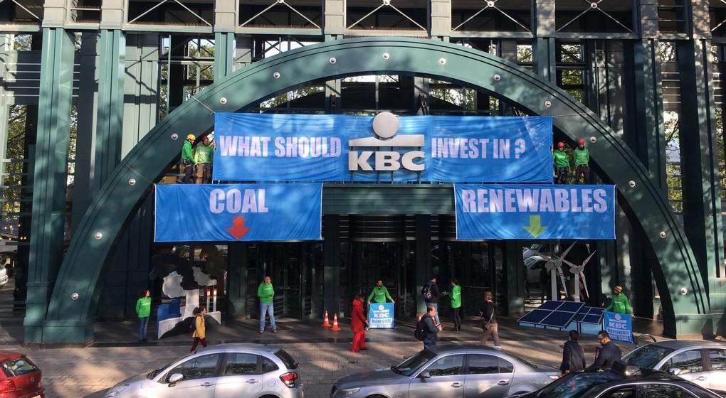 Siège central de la banque KBC, assiégé par Greenpeace à Molenbeek - BX1