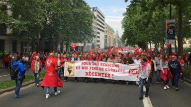 Manifestation pour les pensions : entre 55.000 et 70.000 personnes ont défilé à Bruxelles