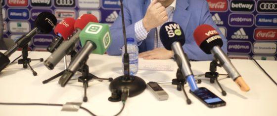 Marc Coucke en conférence de presse à propos d'Anderlecht