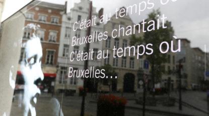 Vitrine avec Jacques Brel à Bruxelles