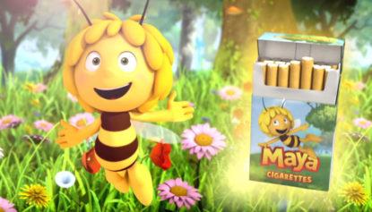 """Grâce à Maya l'abeille, les cigarettes deviennent aussi l'amie des enfants! """"Mayalight"""", la nouvelle campagne choc de Greenpeace - BX1"""