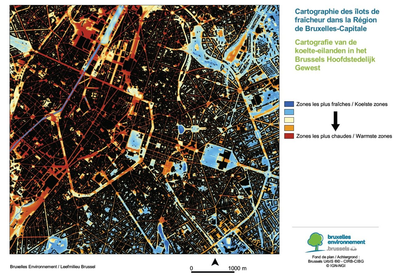 Brussels-Environment presents a map of the hottest areas in the ...