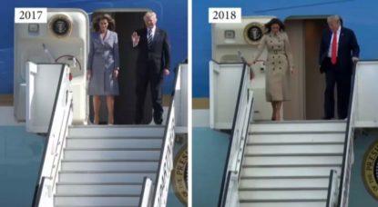 Donald Trump - Comparaison arrivées Melsbroeck - Air Force One - Belga