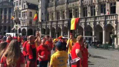 Des supporters des Diables rouges sont arrivés très tôt sur la Grand-Place de Bruxelles