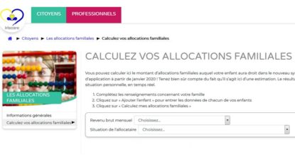 Allocations Familiales - Iriscare Site Calcul - BX1