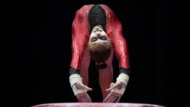 La gymnaste bruxelloise Maellyse Brassart en finale de la poutre aux championnats d'Europe