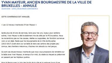 """La conférence d'Yvan Mayeur sur ses """"12 travaux inachevés"""" est annulée"""
