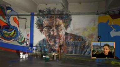 """L'artiste """"Jaune"""" veut empêcher la destruction de sa fresque dans l'ancien Delhaize Molière"""