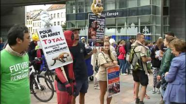 Des centaines de manifestants rassemblés pour le climat devant le parlement européen
