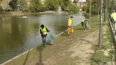Opération de nettoyage aux étangs d'Ixelles