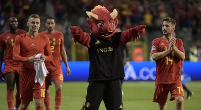 Diables rouges - Thorgan Hazard Dries Mertens - Mascotte - Belgique Suisse - Belga Yorick Jansens