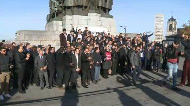 Manifestation des chauffeurs Uber devant le palais de justice de Bruxelles