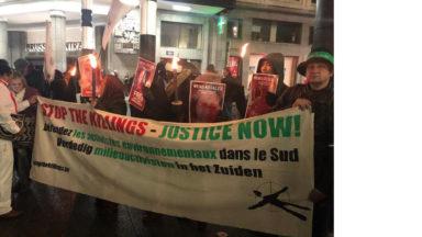 Près de 200 personnes ont manifesté à Bruxelles en solidarité avec les activistes du Sud