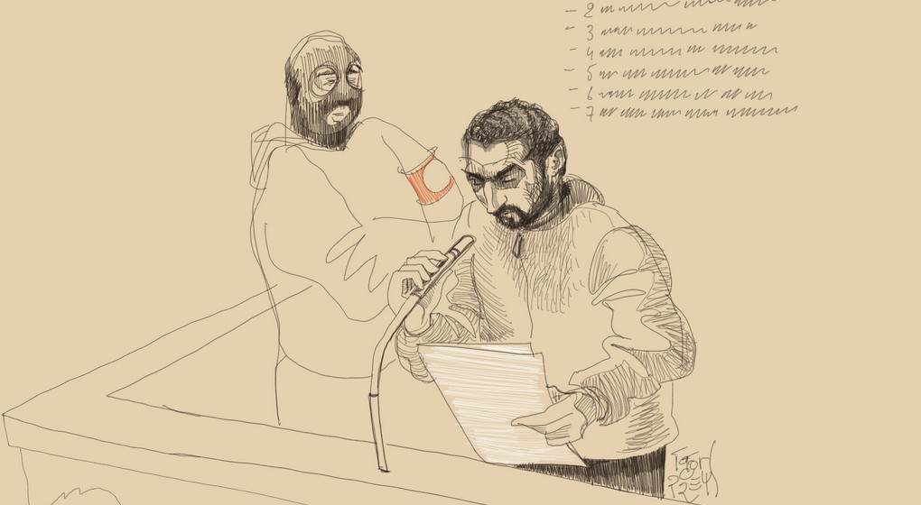 Dessin Mehdi Nemmouche Discours - Procès Attentat Musée Juif - Belga Igor Preys
