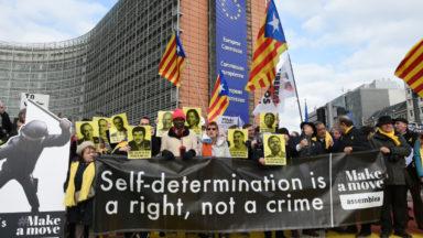 Manifestation à Bruxelles en soutien aux indépendantistes catalans jugés à Madrid