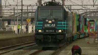 """Le """"Train de Noé"""", 167 mètres de fresque pour valoriser le fret ferroviaire, fait halte à Bruxelles"""