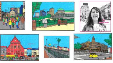 Elle dessine Bruxelles sous le soleil : rencontre avec une illustratrice qui sort 5 cartes postales (VIDÉO)