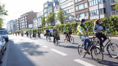 Ganshoren : des cyclistes, piétons et candidats Ecolo avec un masque dénoncent la qualité de l'air