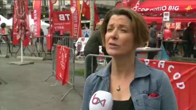 """1er mai : Les militants FGTB se rassemblent place Rouppe pour """"un travail juste, pas juste un travail"""""""