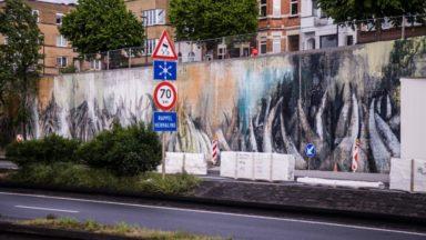 Schaerbeek : l'artiste Bonom dévoile une fresque à l'entrée des tunnels Reyers