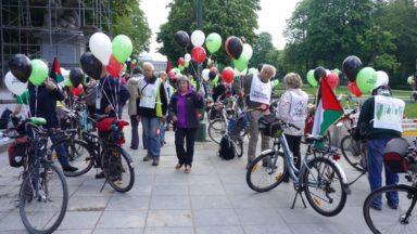 Des cyclistes sillonnent Bruxelles à vélo pour dénoncer l'organisation de l'Eurovision en Israël