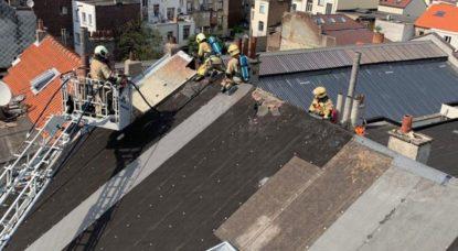 Anderlecht - Incendie toit Rue Gheude - Pompiers de Bruxelles