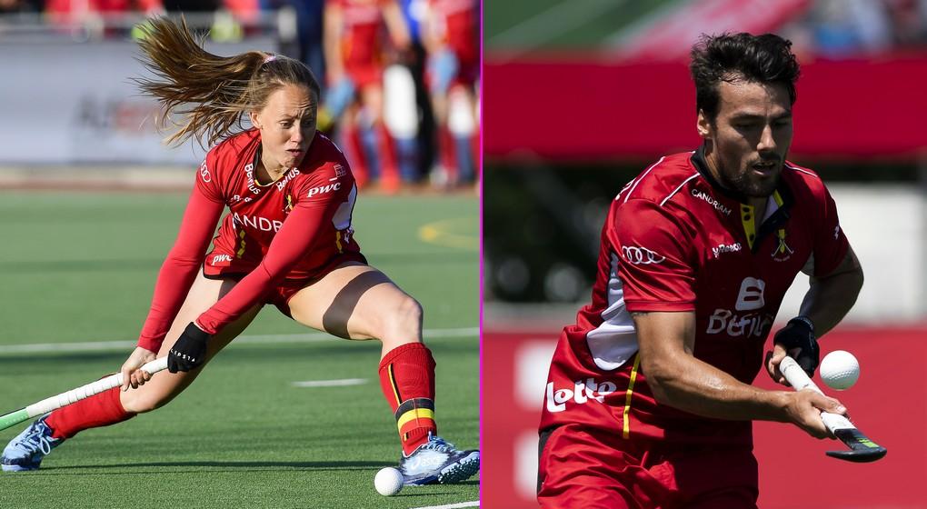 Montage Jill Boon - Simon Gougnard - Hockey sur gazon - Belga Kristof Van Accom et Laurie Dieffembacq