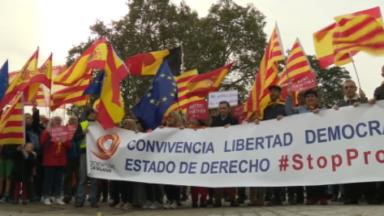 Une cinquantaine de manifestants réunis à Bruxelles pour soutenir les anti-indépendantistes catalans