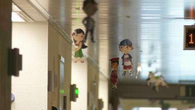 Des scènes de joie et d'amusement prennent vie sur les murs de l'Hôpital Saint-Pierre