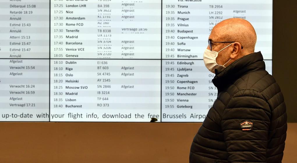 Masque - Brussels Airport - Illustration Belga Eric Lalmand