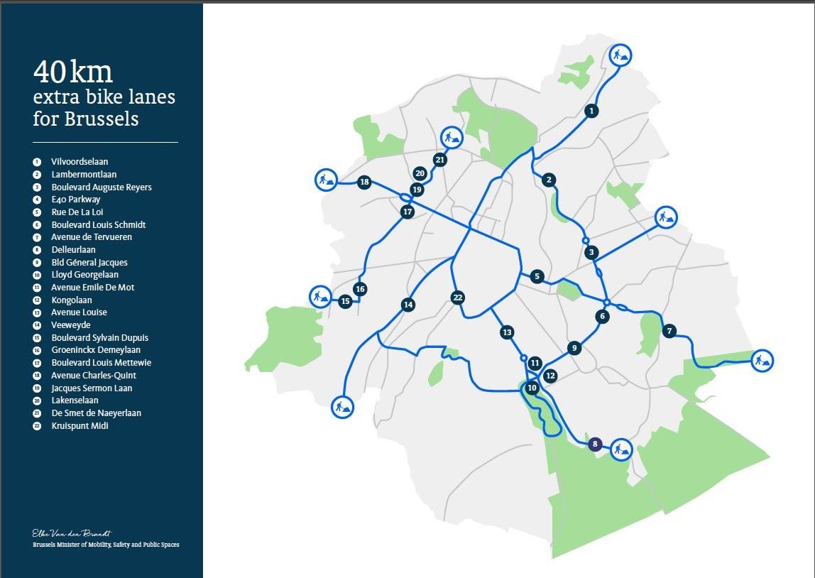 Carte nouvelles pistes cyclables Déconfinement - Cabinet Elke Van den Brandt