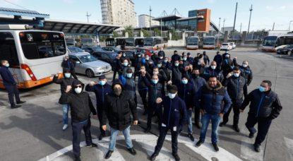 Contestation Travailleurs CHauffeurs Stib Bus - Belga Thierry Roge