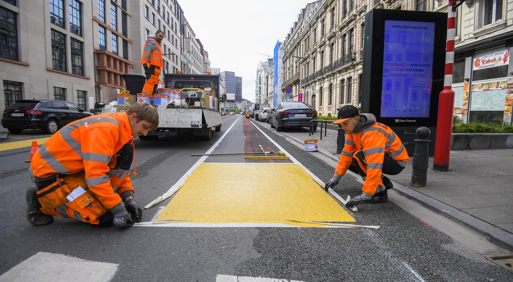 Construction Piste cyclable Bruxelles - Belga Laurie Dieffembacq