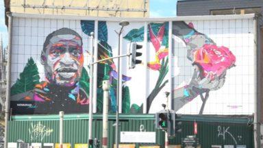 Laeken : l'artiste NovaDead réalise une fresque murale en l'honneur de George Floyd