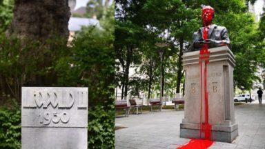 Une statue et des plaques de Léopold II et une statue de Baudouin vandalisés dans la nuit