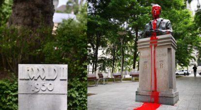 Montage - Statue Leopold II et Statue Baudouin - Belga Laurie Dieffembacq et Nicolas Franchomme