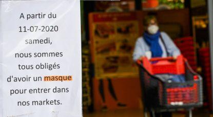 Masque obligatoire Supermarché Coronavirus - Belga Laurie Dieffembacq