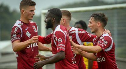 RWDM Joie après but Préparation Malines - Belga Virginie Lefour