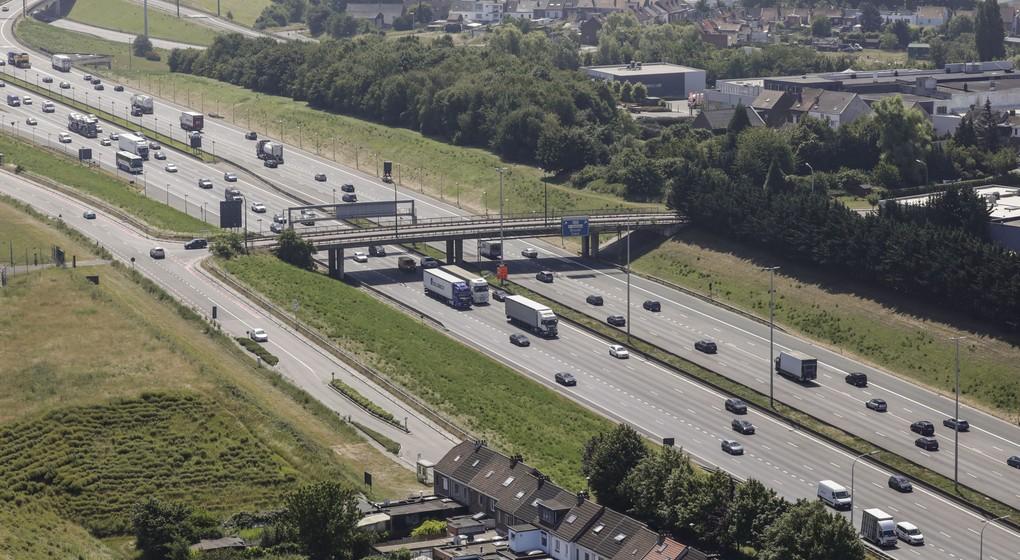 Vue aérienne Ring de Bruxelles R0 Autoroute - Zaventem Evere - Belga Thierry Roge