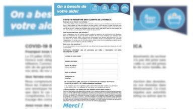Horeca : le SPF Economie publie le formulaire-type pour l'enregistrement des clients