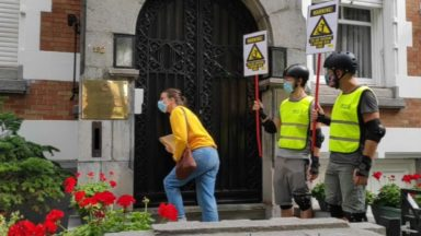 Ixelles : Amnesty International mène une action devant l'ambassade de Biélorussie