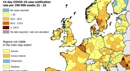 Coronavirus Carte ECDC Europe - Capture 21082020