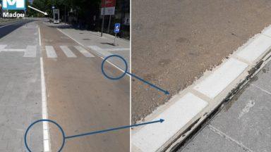 Un dispositif testé pour mieux séparer les pistes cyclables des trottoirs à Madou